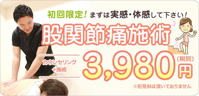 股関節痛施術初回体験3,980円